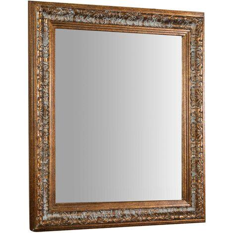 Espejo de pared de colgar vertical/horizontal 68x3x78 cm acabado con efecto plata envejecido