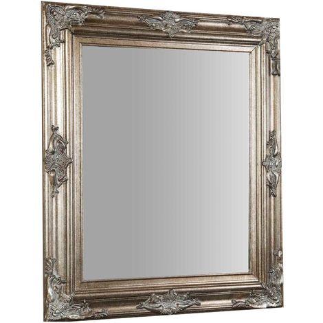 Espejo de pared de colgar vertical/horizontal 69x5x79 cm acabado con efecto plata envejecido