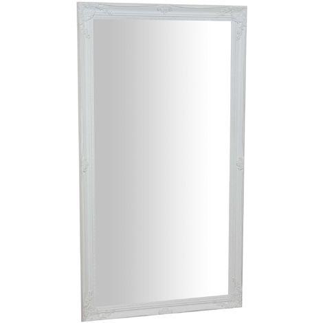 Espejo de pared de colgar vertical/horizontal 72x3x132 cm con efecto blanco envejecido