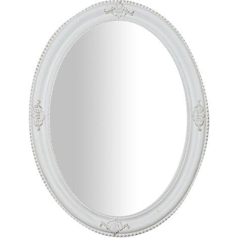 Espejo de pared de colgar vertical/horizontal blanco envejecido