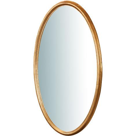 Espejo de pared de colgar vertical/horizontal de madera-acabado con efecto hoja de oro envejecido L71XPR4,5XH122 cm Made in It