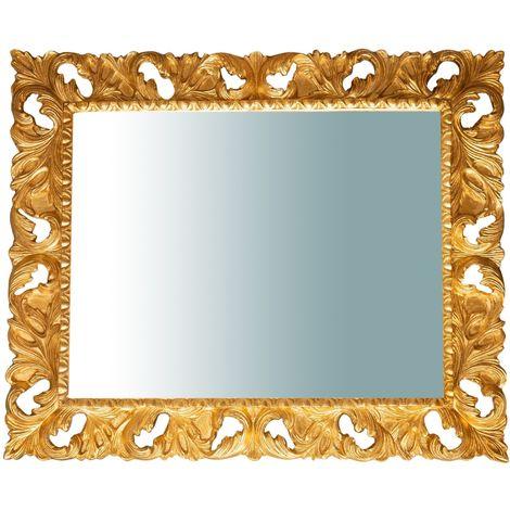 Espejo de pared de colgar VERTICAL/HORIZONTAL DE MADERA ACABADO DORADO ENVEJECIDO 120X8X100 CM. HECHO EN ITALIA