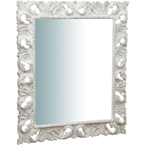 Espejo de pared de colgar vertical/horizontal de madera, acabado en blanco envejecido (cm: 120 x 6 x 100). Made in Italy