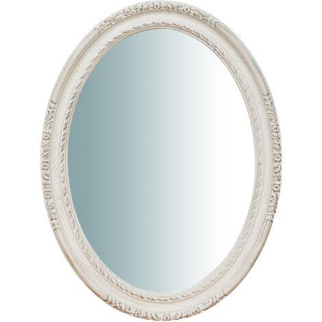 Espejo de pared de colgar vertical/horizontal de madera, acabado en blanco envejecido (cm: 62 x 4,5 x 81). Made in Italy