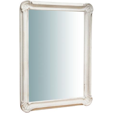 Espejo de pared de colgar vertical/horizontal de madera, acabado en blanco envejecido (cm: 64 x 5 x 89). Made in Italy