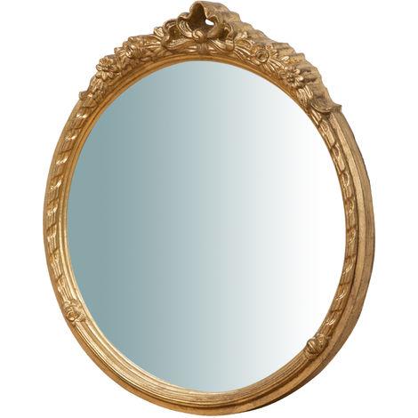 Espejo de pared de colgar vertical/horizontal de madera, acabado en pan de oro envejecido (cm: 40 x 4 x 45). Made in Italy