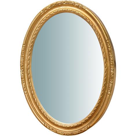 Espejo de pared de colgar vertical/horizontal de madera, acabado en pan de oro envejecido (cm: 62 x 4,4 x 81). Made in Italy