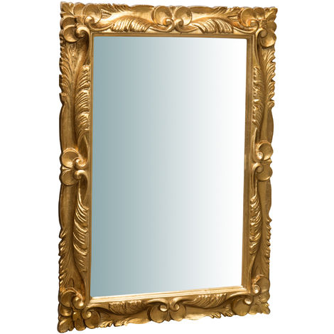 Espejo de pared de colgar vertical/horizontal de madera, acabado en pan de oro envejecido (cm: 66 x 6 x 95). Made in Italy