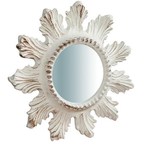 Espejo de pared de colgar vertical/horizontal de madera acabado hoja de oro envejecida L23XPR2,5XH 23 cm Made in Italy