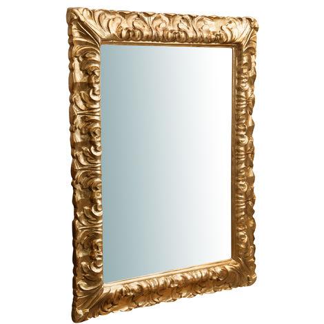 Espejo de pared de colgar vertical/horizontal de madera acabado hoja de oro envejecida L70XPR4,5XH90 cm Made in Italy