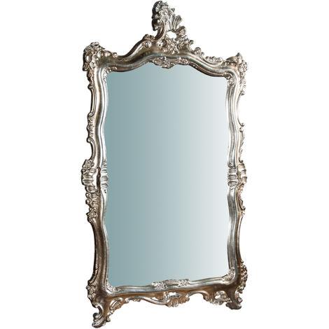 Espejo de pared de colgar vertical/horizontal de madera, acabado hoja de plata envejecida L66XPR7XH118 cm Made in Italy