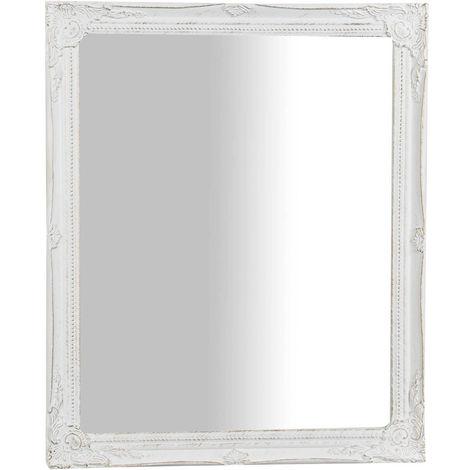 Espejo de pared de colgar vertical,horizontal acabado con efecto blanco envejecido