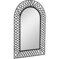 Espejo de pared de jardín arqueado 50x80 cm negro