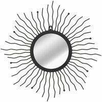 Espejo de pared de jardín con forma de sol 60 cm negro