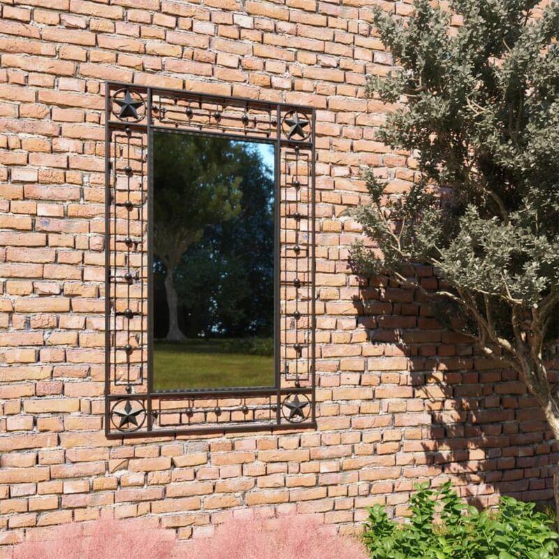 Espejo de pared de jardín rectangular 50x80 cm negro - Negro