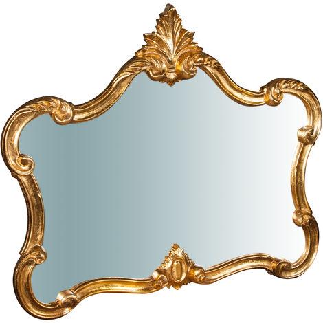Espejo de pared de madera acabado con efecto hoja de oro envejecida L71XPR5XH82 cm Made in Italy