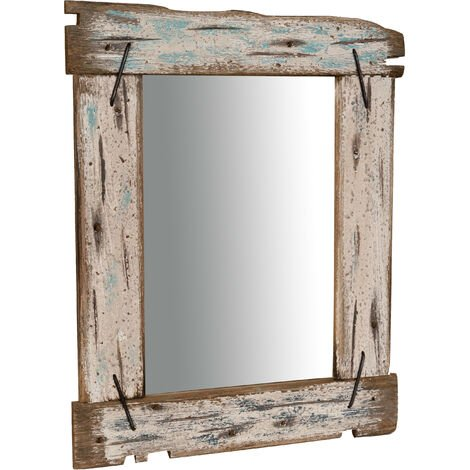 Espejo de pared de madera maciza L48xPR3xH59 cm