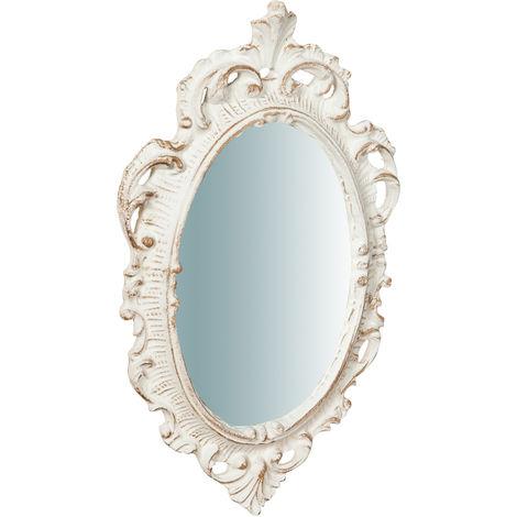 Espejo de pared en madera acabado blanco antiguo L19XPR2XH30 cm Made in Italy