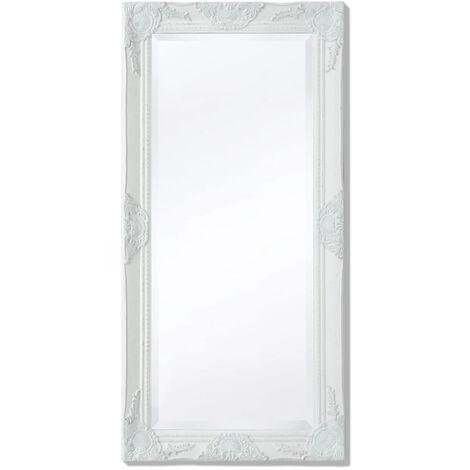 Espejo de pared estilo barroco 100x50 cm blanco