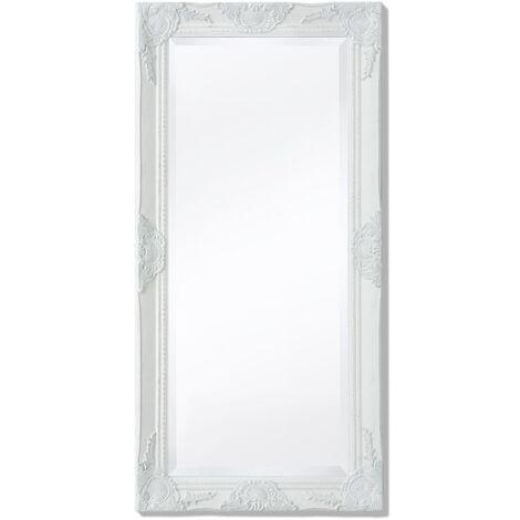 Espejo de pared estilo barroco blanco 100x50 cm