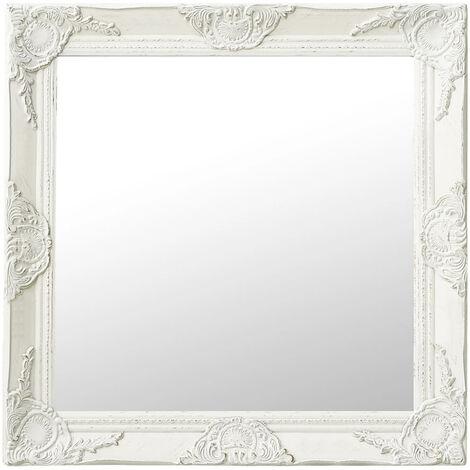 Espejo de pared estilo barroco blanco 60x60 cm