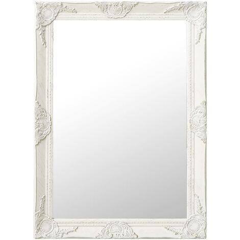 Espejo de pared estilo barroco blanco 60x80 cm