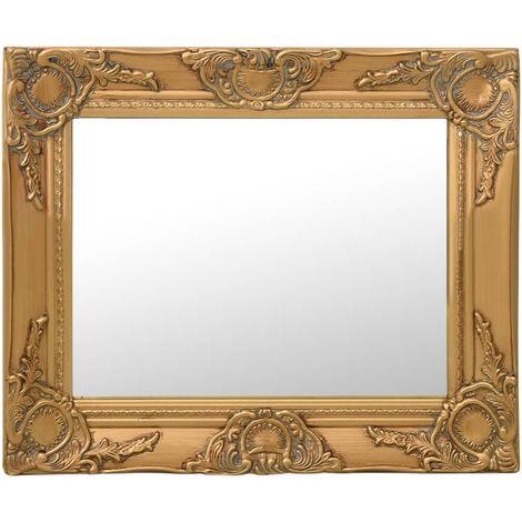 Espejo de pared estilo barroco dorado 50x40 cm