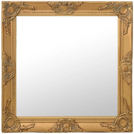 Espejo de pared estilo barroco dorado 60x60 cm
