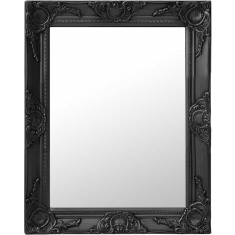 Espejo de pared estilo barroco negro 50x60 cm