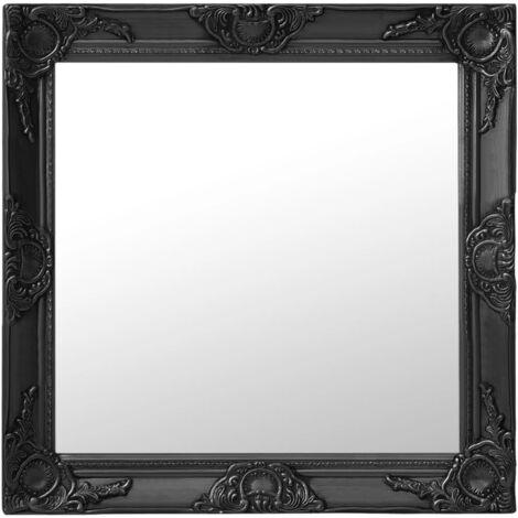 Espejo de pared estilo barroco negro 60x60 cm