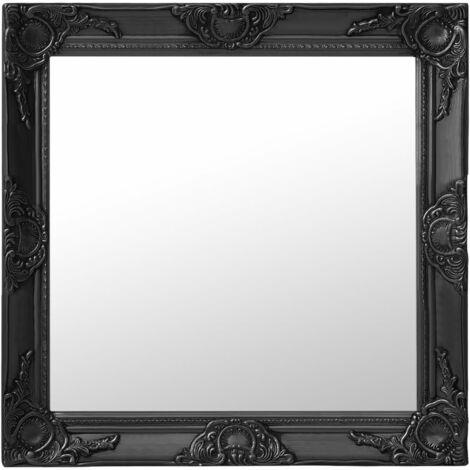 Espejo de pared estilo barroco negro 60x60 cm - Negro