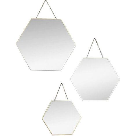 Espejo de Pared Geométrico, Juego de 3 Espejos Hexagonales Dorados, Decoración Moderna/Original, 3 Tamaños Diferentes.