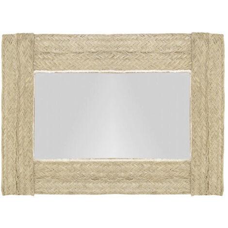Espejo de pared horizontal de esparto .