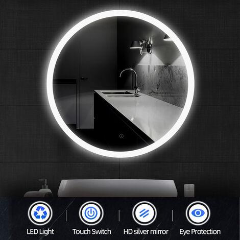 Espejo de pared iluminado redondo de 60 cm (∅) Iluminación LED de baño con función antivaho Blanco frío 6500K
