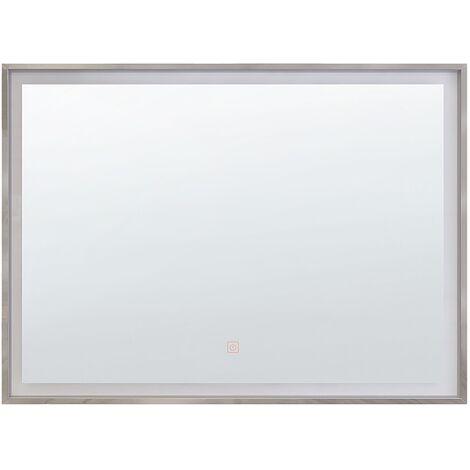 Espejo de pared LED 60x80 cm plateado ARGENS