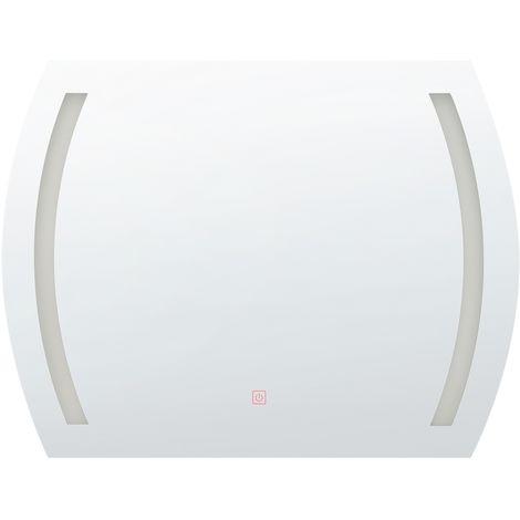 Espejo de pared LED 60x80 cm plateado ARQUES