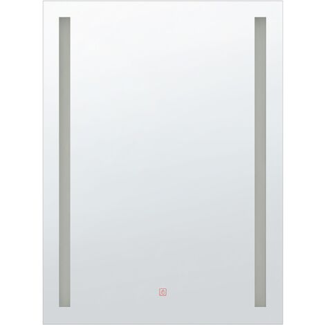 Espejo de pared LED 70x90 cm plateado MARTINET