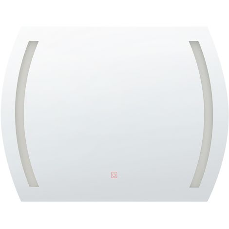 Espejo de pared LED 80x60 cm plateado ARQUES