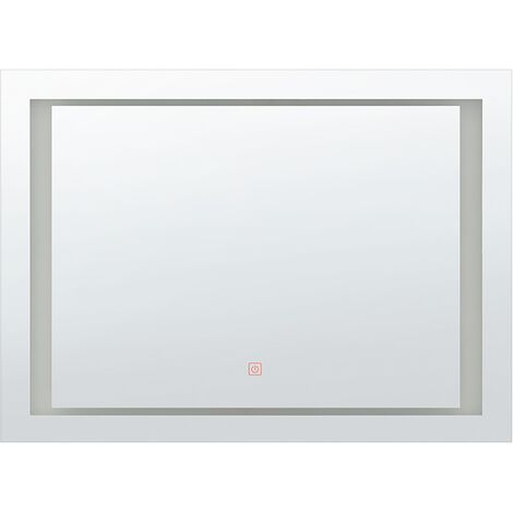 Espejo de pared LED 80x60 cm plateado EYRE