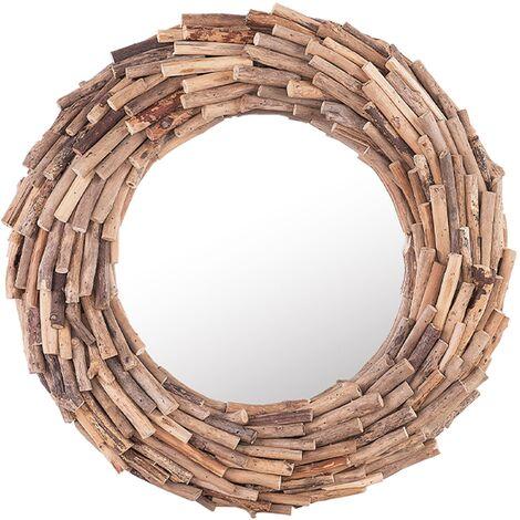 Espejo de pared madera clara ø56 cm KAYENTA