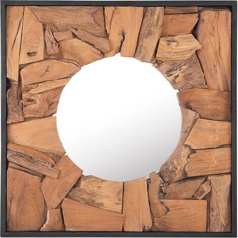 Espejo de pared madera clara 70x70 cm YECORA