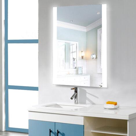 Espejo de pared para baño, control táctil iluminado, ángulo recto 70 * 50 cm