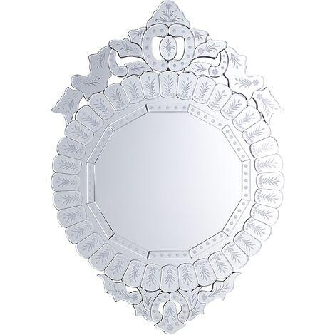 Espejo de pared plateado 67x100 cm CRAON