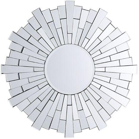 Espejo de pared plateado ø70 cm VIRE