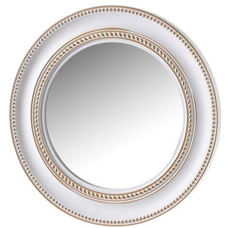 Espejo de pared redondo luxury blanco y dorado de polipropileno, de ø 60 cm
