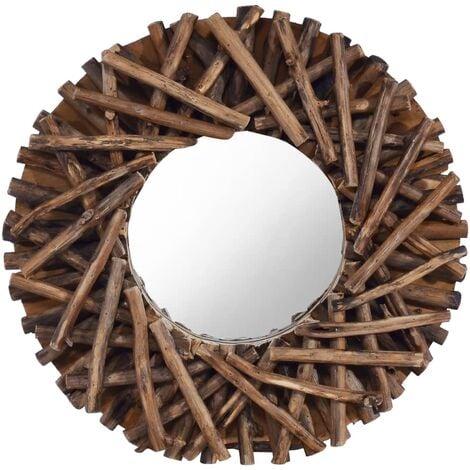 Espejo de pared redondo teca 40 cm
