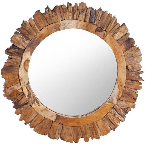 Espejo de pared redondo teca 60 cm