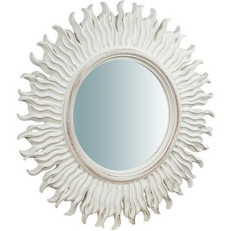 Espejo de pared vertical/horizontal de madera acabado blanco envejecido L56XPR5XH 56 cm Made in Italy