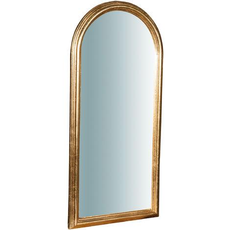 Espejo de pared vertical/horizontal de madera acabado hoja de oro envejecida L42XPR3,5XH90 cm Made in Italy