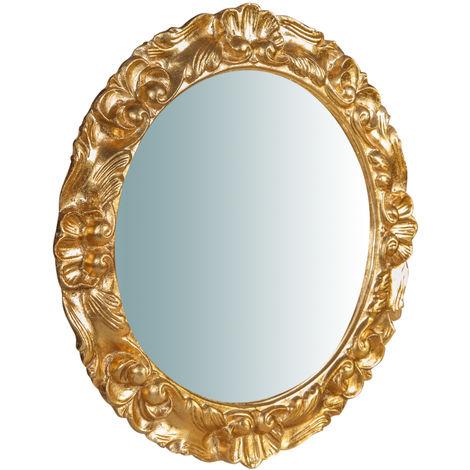 Espejo de pared vertical/horizontal de madera acabado hoja de oro envejecida L54XPR4,5XH54 cm Made in Italy